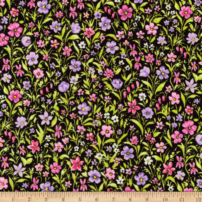 Kaufman London Calling Lawn Purple Flowers - Discount Designer
