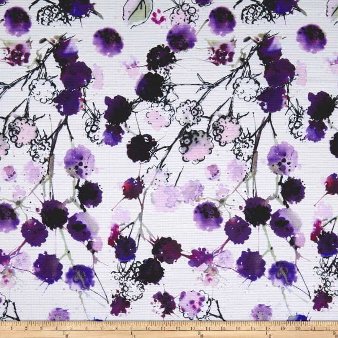 Telio Mirage Jacquard Digital Print Floral White Purple - Discount