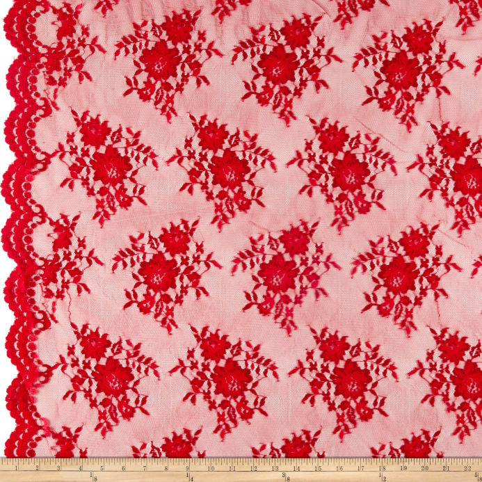 Chantilly Lace Double Boarder Red - Discount Designer Fabric