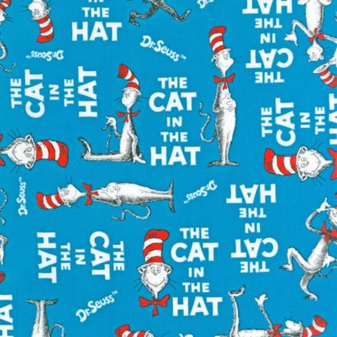 The Cat In The Hat Book Cover Turquoise - Discount Designer Fabric
