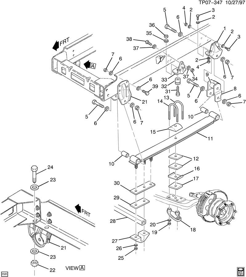 1990-2009 GMC Topkick/Chevy Kodiak Front Rear Suspension Bump Stop