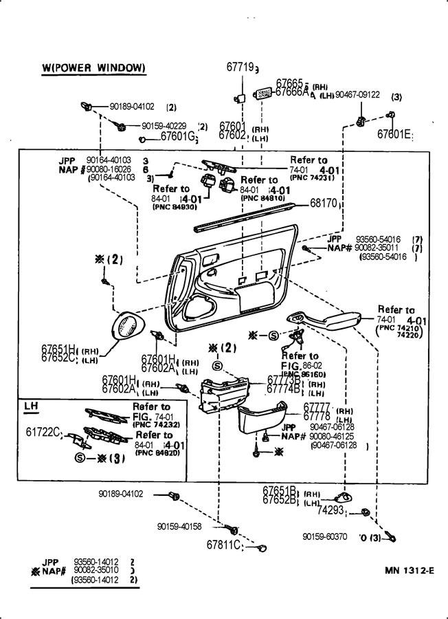 96 toyota camry door diagram