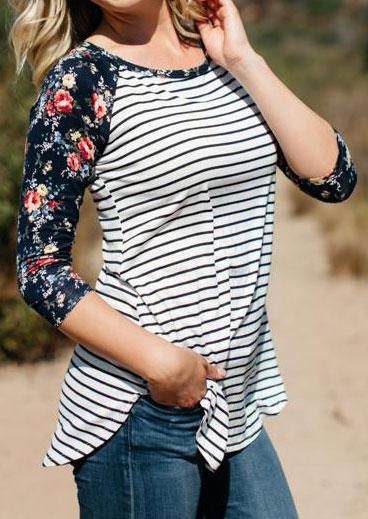 floral striped three quarter sleeve t shirt