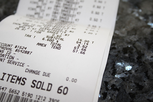 Toxin BPA Found on Receipts From Safeway, Whole Foods, Walmart - free reciepts