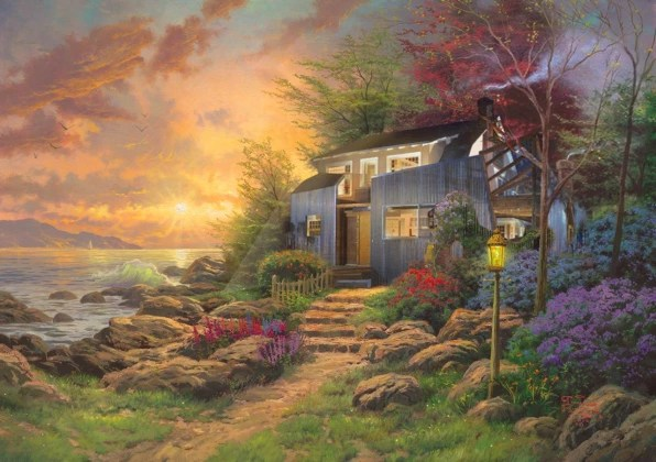Fall Cottage Wallpaper Mid Century Modernism Rendered As Thomas Kinkade Paintings