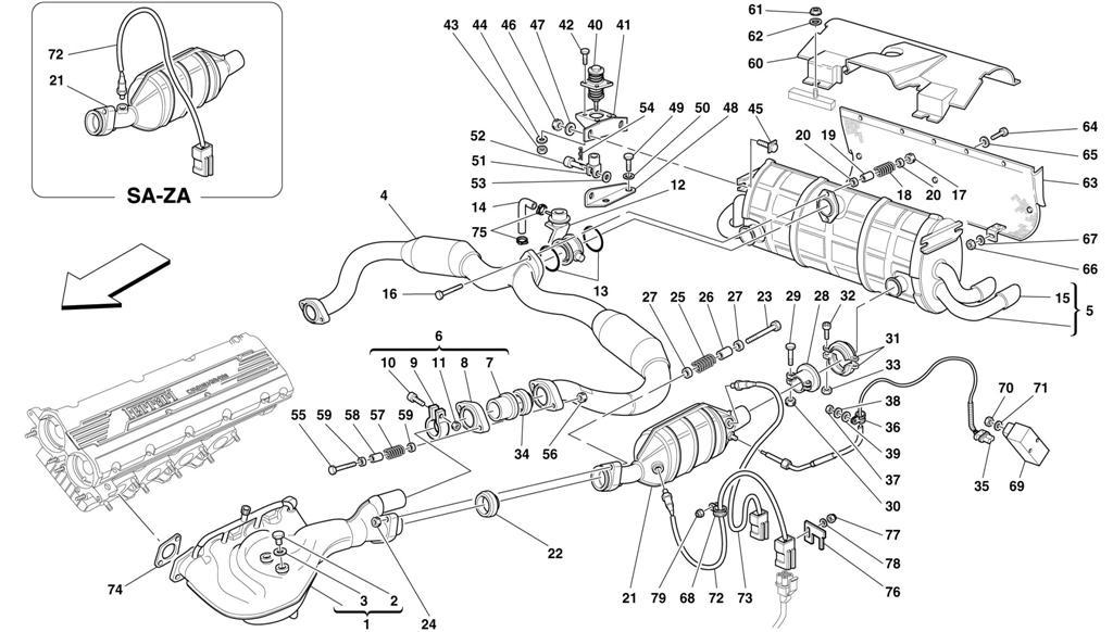 fiero exhaust system diagram