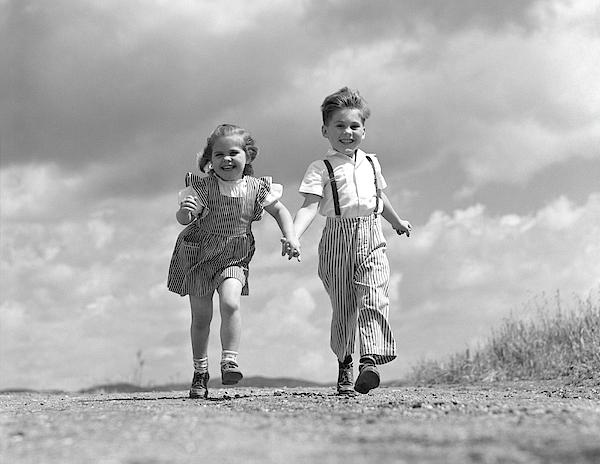1940s Boy Girl Holding Hands Running Fleece Blanket For