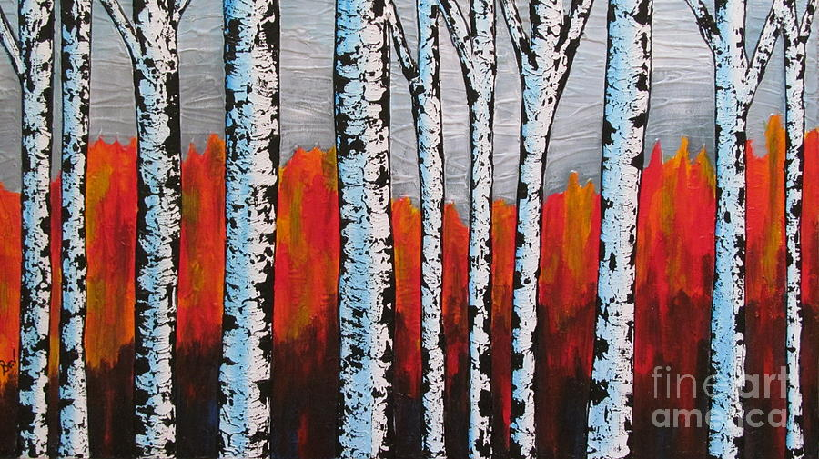Birch Tree Fall Wallpaper Birch Trees Painting By Beverly Livingstone