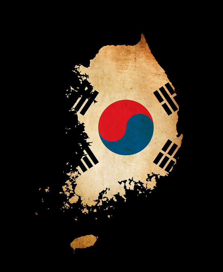 Seoul Wallpaper Iphone South Korea Outline Map With Grunge Flag Photograph By