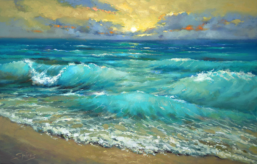 Surf Wallpaper Iphone X Caribbean Sea Painting By Dmitry Spiros
