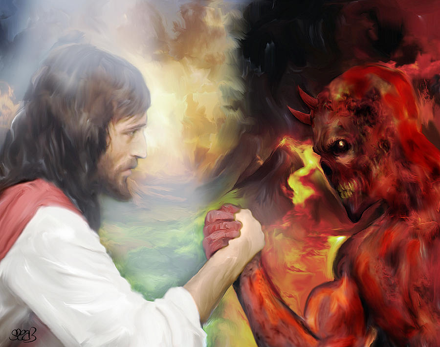 Chargers Iphone Wallpaper Jesus Vs Satan Painting By Mark Spears