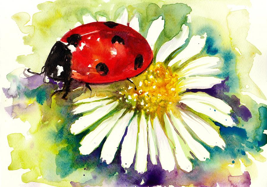 Ladybug In Flowers Painting By Tiberiu Soos