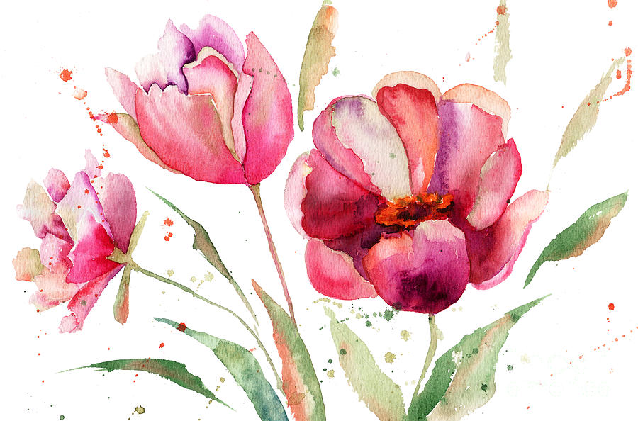 65 Cute Valentines Wallpapers Collection Three Tulips Flowers Painting By Regina Jershova