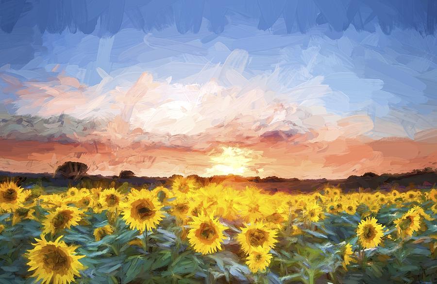 Falling Leaves Wallpaper For Iphone Van Gogh Style Digital Painting Sunflower Summer Sunset