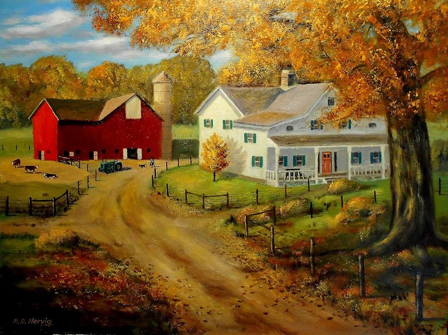 Free Fall Wallpaper Apps 1930 S Farm Painting By Richard Nervig
