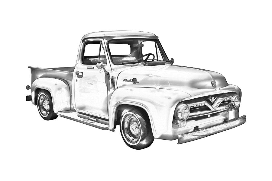 Lifted Truck Iphone Wallpaper 1955 F100 Ford Pickup Truck Illustration Photograph By