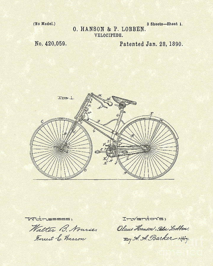 Bicycle 1890 Patent Art Drawing by Prior Art Design