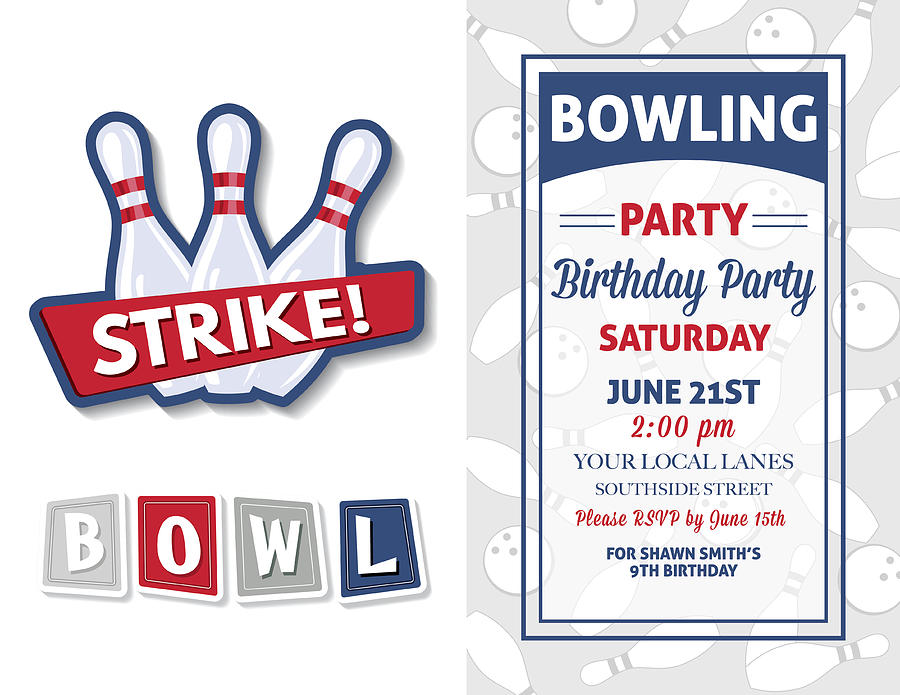 Retro Style Bowling Birthday Party Invitation Template by Diane555
