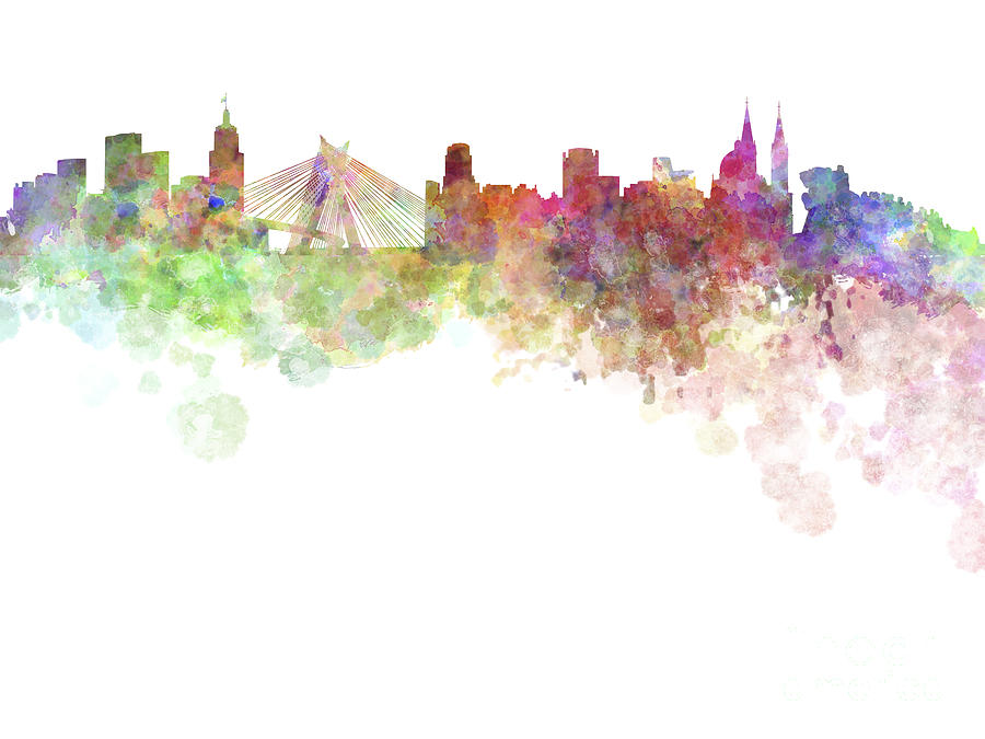 Girl Tshirts Hd Wallpaper Sao Paulo Skyline In Watercolor On White Background