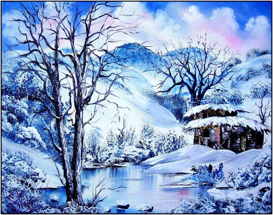 Falling Snow Wallpaper Iphone 5 Snowy Day Painting By Shirwan Ahmed