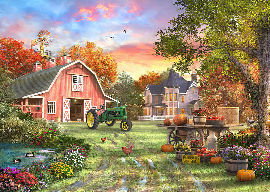 Fall Leaves Wallpaper Iphone Autumn Farm Painting By Dominic Davison