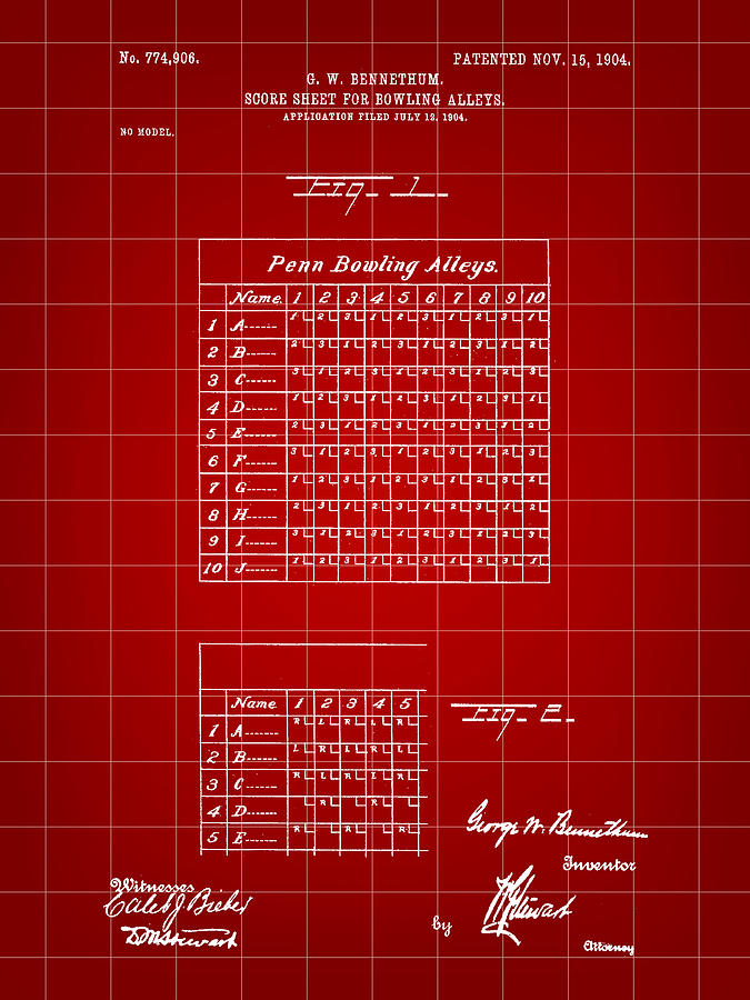 Bowling Score Sheet Patent 1904 - Red Digital Art by Stephen Younts