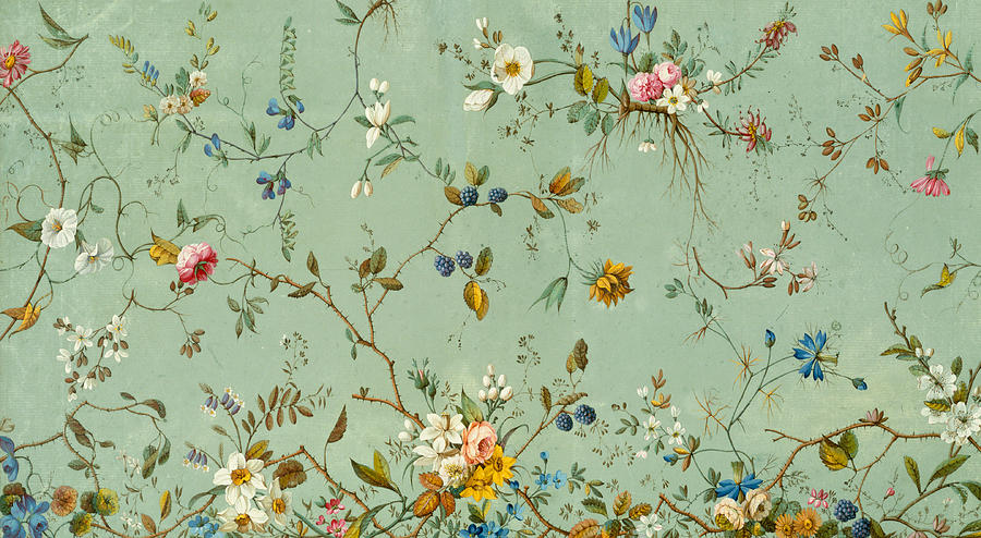 Floral Print Iphone Wallpaper Marble End Paper Tapestry Textile By William Kilburn
