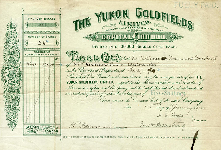 A Share Certificate For The Yukon by Mary Evans Picture Library