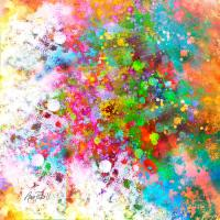 abstract art COLOR SPLASH on Square Painting by Ann Powell