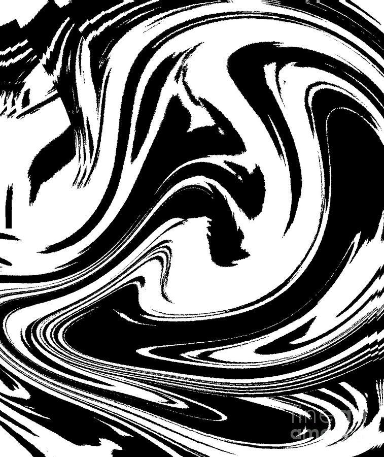 Abstract Circles Waves Black White Minimalist Art Print No39