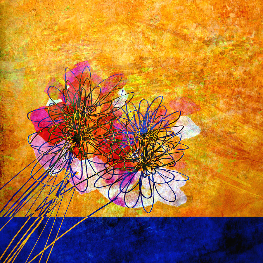 Floral Wallpaper For Iphone 5 Abstract Flowers Orange And Blue Painting By Ann Powell