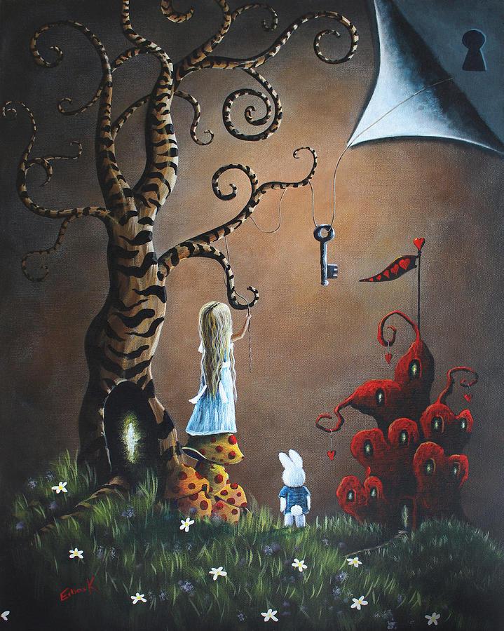 Falling Down The Rabbit Hole Wallpaper Alice In Wonderland Original Artwork Key To Wonderland