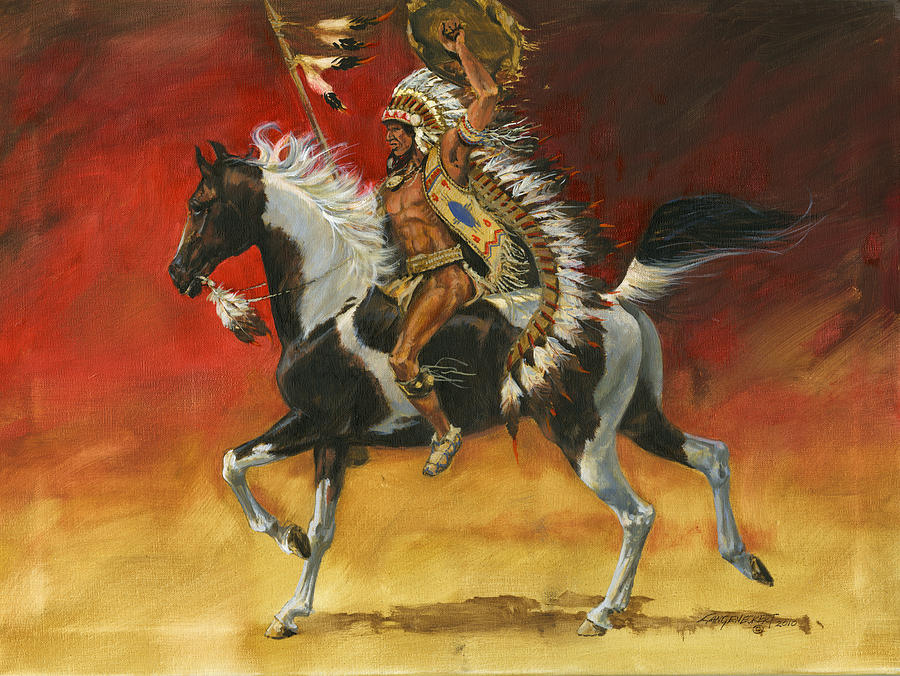 Native American Wallpaper Iphone Indian Warrior Bareback Spotted Horse Painting By Don