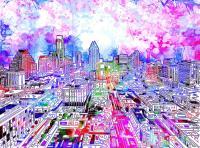 Austin Texas Watercolor Panorama Painting by Bekim Art