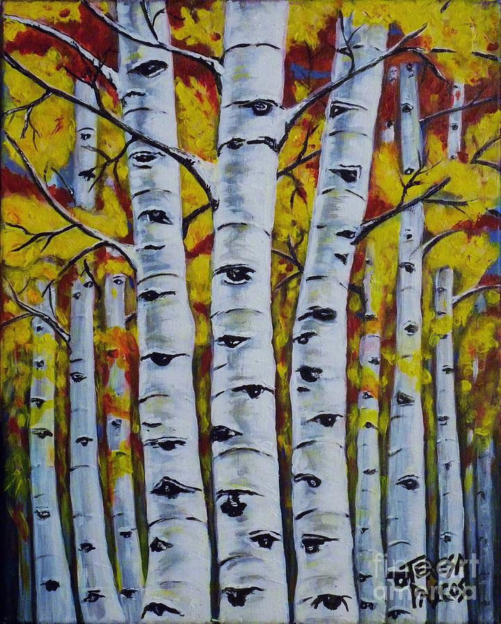 Birch Tree Fall Wallpaper Autumn Birch Trees Painting By Teresa Pascos