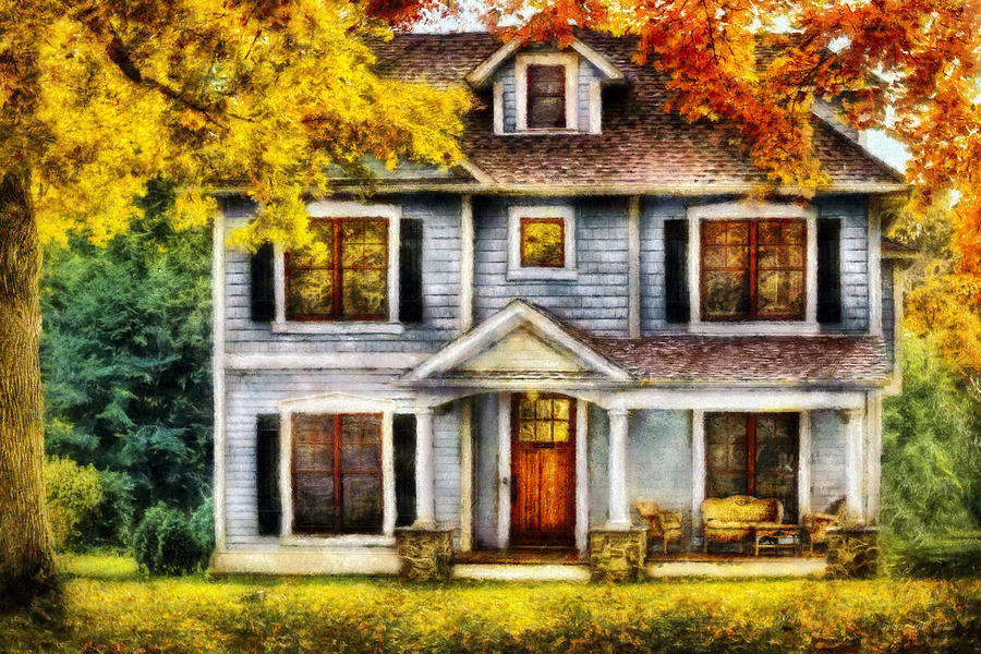 Autumn Fall Wallpaper 1600x900 Autumn House Cottage Photograph By Mike Savad