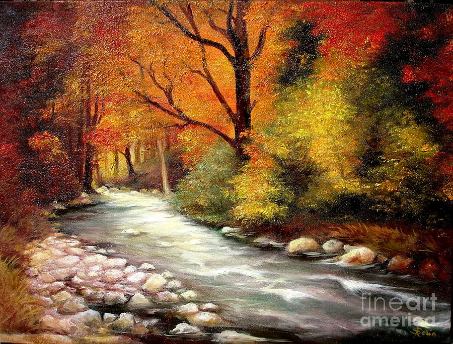 Fall Cottage Wallpaper Autumn In The Forest Painting By Sorin Apostolescu