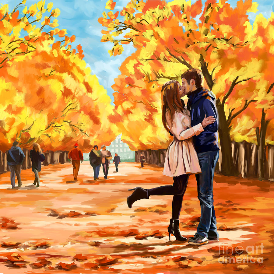 Cute Anime Couple Wallpaper Hd For Android Autumn Kiss In Park Painting By Tim Gilliland