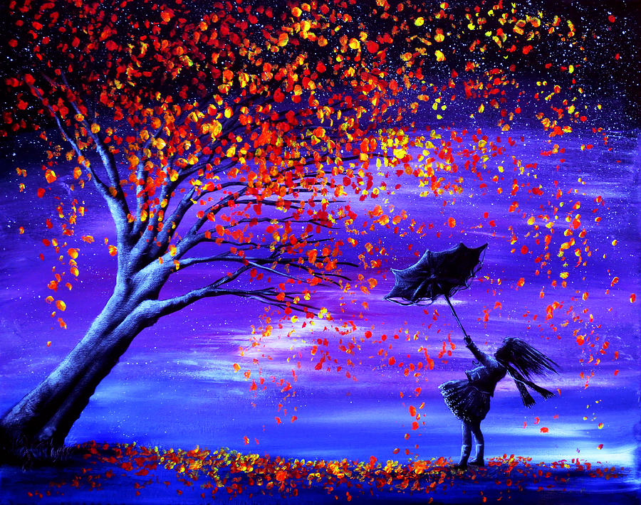 Cat In Fall Wallpaper Background Autumn Wind Painting By Ann Marie Bone