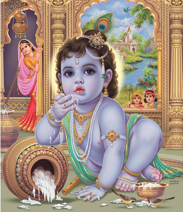 Lord Krishna Wallpaper Full Hd Baby Krishna Painting By Vijayann Rajasabai
