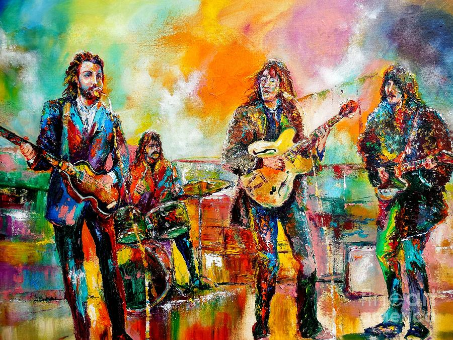 The Beatles Iphone 5 Wallpaper Beatles Rooftop Concert 2 Painting By Leland Castro