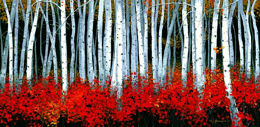 Fall Leaves Iphone 5 Wallpaper Birch 24 X 48 Painting By Michael Swanson
