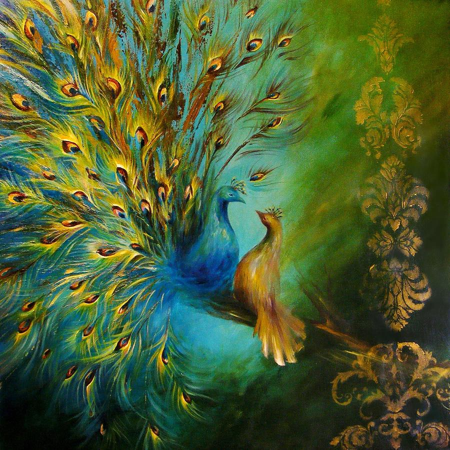 Best Wallpapers For Iphone X App Birds Of A Feather Peacocks 3 Painting By Dina Dargo