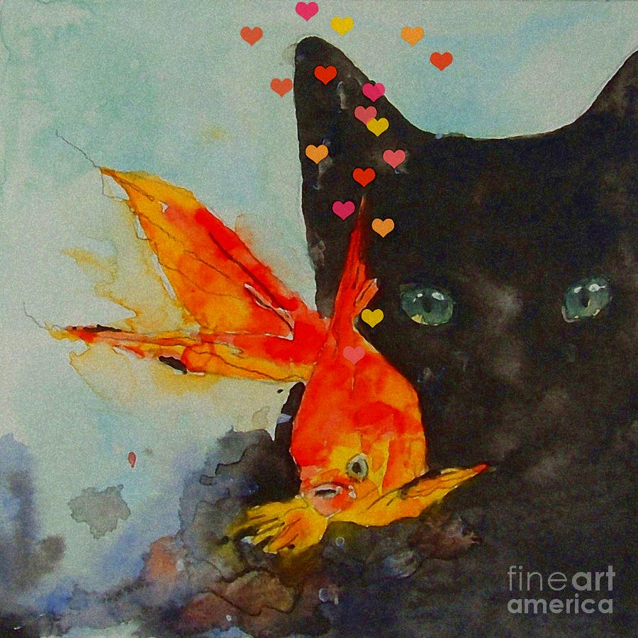 Watercolor painting black cat and the goldfish by paul lovering