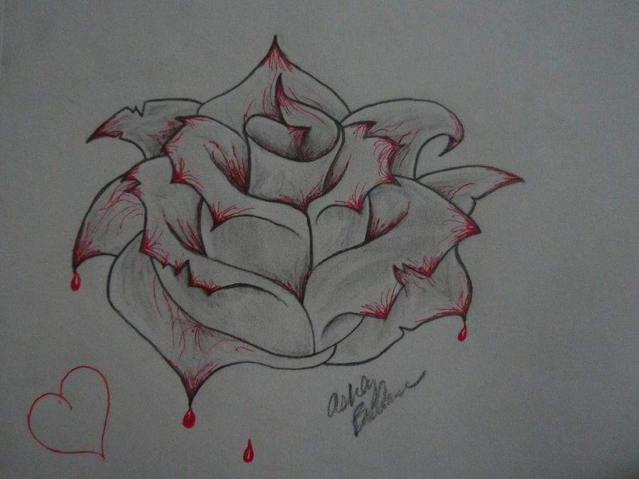 Bleeding Rose Drawing By Ashley O39brien