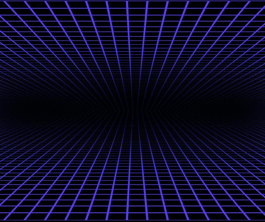 Blue Grid Against Black Background Photograph by Victor De