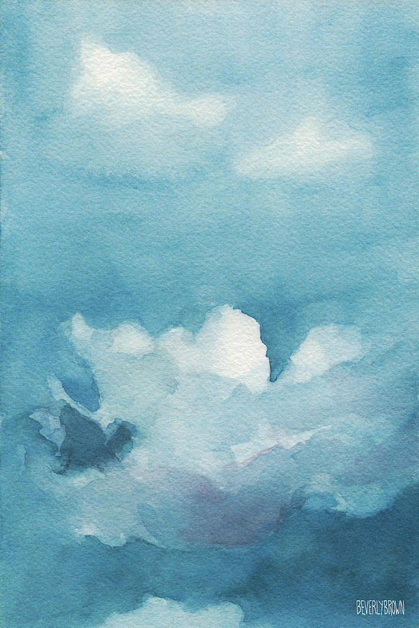 Blue Sky White Clouds Watercolor Painting Painting by