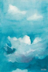 Blue Sky White Clouds Watercolor Painting Painting by ...