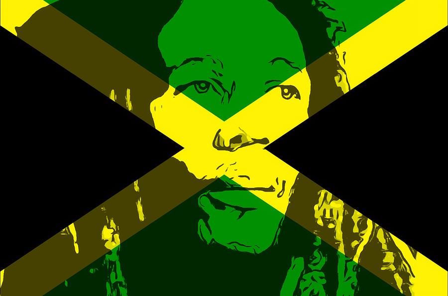Iphone Pretty Wallpaper Bob Marley On Jamaican Flag Mixed Media By Dan Sproul
