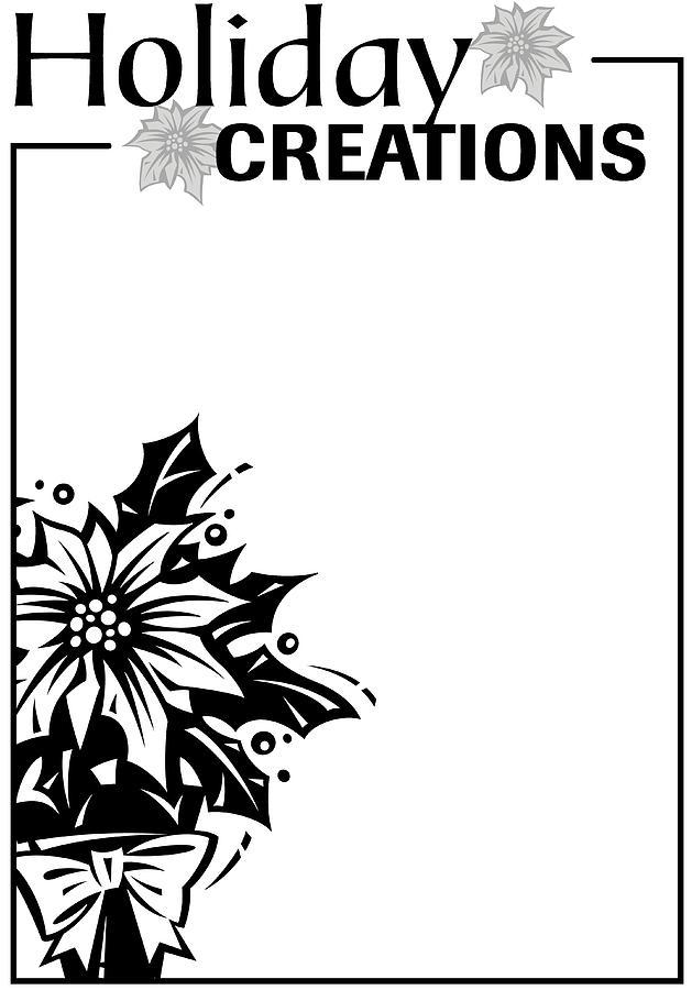 Border, Heading, Holiday Creations, Poinsettia Plant Grayscale